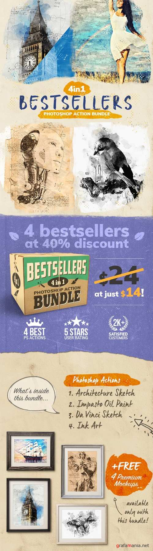 4-in-1 Bestsellers Photoshop Action Bundle - 24937777