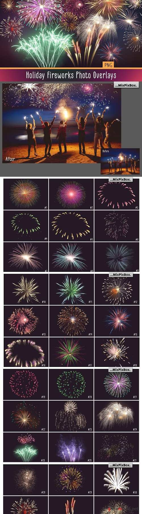 Holiday Fireworks Photo Overlays - 4137068