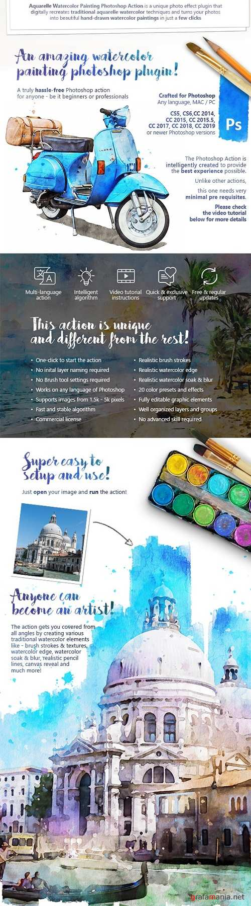 Aquarelle - Watercolor Painting Photoshop Action 25391242