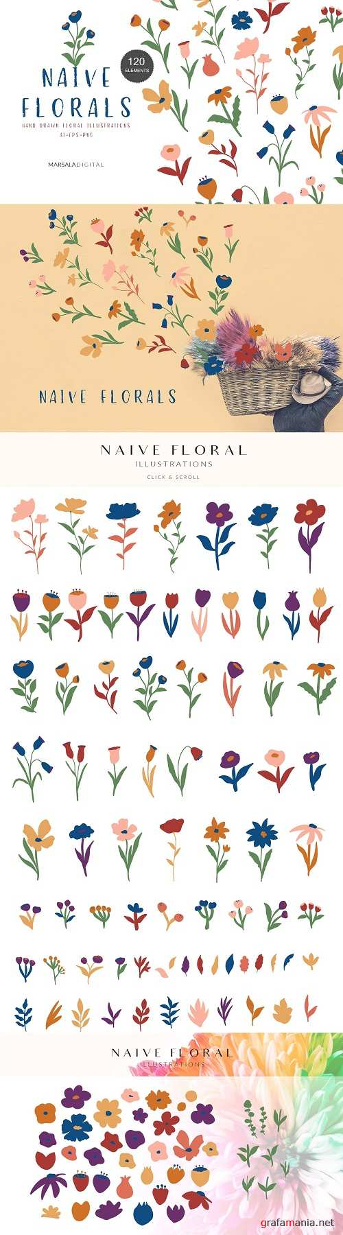 Naive Floral Illustrations - 4400767